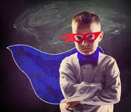 Superhero school boy Stock Photography