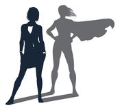 Superhero Shadow Businesswoman. Conceptual illustration of a business woman revealed as a super hero by her shadow vector illustration