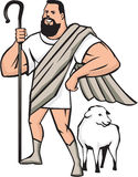 Superhero Shepherd Sheep Standing Cartoon Stock Photography