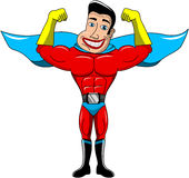 Superhero Showing Biceps Isolated Royalty Free Stock Photos