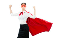 Superhero showing her strong muscle. Successful confidence office lady superhero showing her strong muscle with her super woman costume for professional services Royalty Free Stock Photos