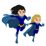 Superhero and a sidekick cartoon Stock Photos