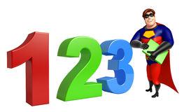 Superhero with 123 sign & book. 3d rendered illustration of Superhero with 123 sign & book Royalty Free Stock Image