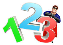 Superhero with 123 sign. 3d rendered illustration of Superhero with 123 sign royalty free illustration