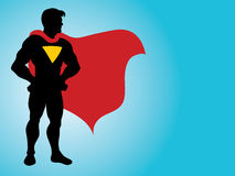 Superhero Silhouette. An illustration of a superhero standing in victory Stock Photos