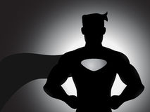 Superhero In Silhouette. A vector superhero silhouette with shading effects Royalty Free Stock Photography