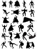 Superhero Silhouettes. Collection of 25 Superhero Silhouettes Royalty Free Stock Images
