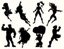Superhero silhouettes Stock Images