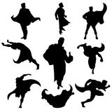Superhero silhouettes set Stock Photo