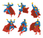 Superhero silhouettes vector character set Stock Photos