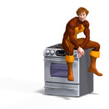 Superhero sits on an oven Stock Photo