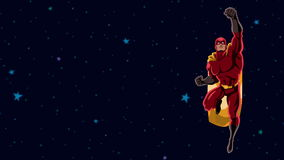 Superhero som flyger utrymme 2 arkivfilmer