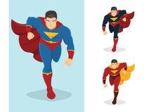Superhero som framåtriktat kör Royaltyfri Bild