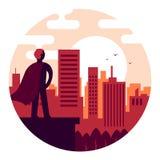Superhero som h?ller ?gonen p? soluppg?ngen mot bakgrunden av staden stock illustrationer