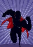 Superhero som kör den abstrakta bakgrundskonturn stock illustrationer