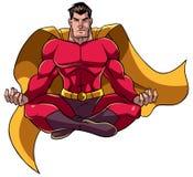 Superhero som mediterar illustrationen Arkivfoton