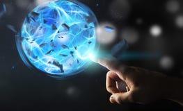 Superhero som skapar en maktboll med hans hand Royaltyfria Bilder