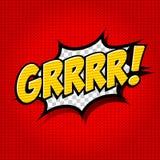 Superhero som slår komikerbubblan med text Arkivbilder