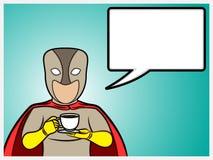 Superhero som talar och rymmer en kaffekopp Arkivfoton