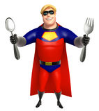 Superhero with Spoons Royalty Free Stock Images
