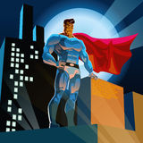 Superhero in Stad Stock Afbeeldingen