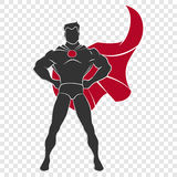 Superhero standing in defensive stance. In comics style on transparent background Stock Photography