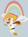 CUTE SUPERHERO GIRL CARTOON Stock Images