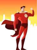 Superhero. Super hero showing his strenght, can be used separatelly from its background. Superhero standing strongly, smiling while showing his powers, with Stock Image