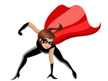 Superhero or super hero woman combat pose isolated royalty free stock photos