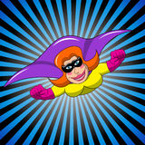 Superhero Superheroine Masked Flying Woman Stock Image
