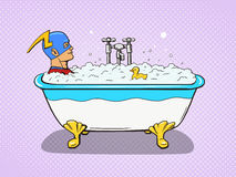 Superhero takes a bath comic vector Stock Images