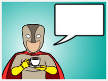 Superhero talking and holding a coffee cup Stock Photos