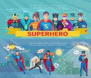 Superhero Team Banners Set. Superhero team horizontal banners set with saving the world symbols flat isolated vector illustration Royalty Free Stock Image