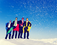 Superhero Team on the Hill in Winter Royalty Free Stock Photography