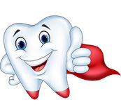 Superhero tooth cartoon with thumb up Royalty Free Stock Images