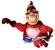Superhero and toothbrush Stock Image