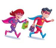 Superhero Trick or Treaters Stock Photos