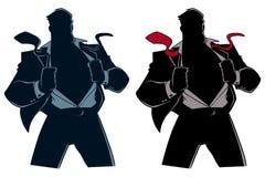 Superhero under räkningsdräktkontur stock illustrationer