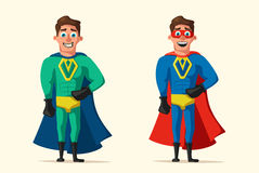 Superhero in uniform. Cartoon vector illustration. Good man. Hero character. Muscular body. Person in cloak. Justice and help. For banners and posters Stock Photo