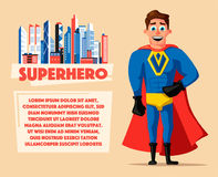 Superhero in uniform. Cartoon vector illustration. Good man. Hero character. Muscular body. Person in cloak. Justice and help. For banners and posters Stock Images