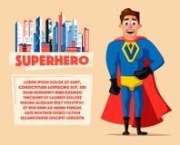 Superhero in uniform. Cartoon vector illustration Stock Images
