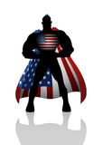 Superhero with USA insignia. Silhouette illustration of a superhero with USA insignia Royalty Free Stock Images