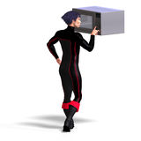 Superhero uses a microwave Royalty Free Stock Photos