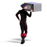 Superhero uses a microwave Royalty Free Stock Photos