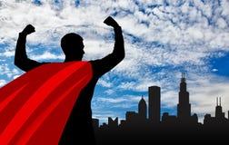 Superhero van de supermanzakenman stock illustratie