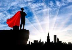 Superhero van de supermanzakenman royalty-vrije illustratie