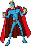 Superhero van het beeldverhaal met een rode kaap Stock Afbeelding