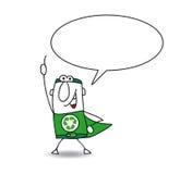 Superhero van recycling spreekt vector illustratie