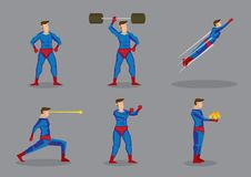 Superhero Vector Cartoon Character Set. Vector cartoon illustration of superhero character showing super power and superhuman abilities isolated grey background Royalty Free Stock Photography
