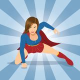 Female Superhero with Red Cape. Superhero vector illustration. EPS10 Format Royalty Free Stock Photography
